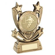 Bronze Gold Shooting Star Series with Rugby Insert Trophy Award 5in : New 2020