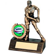 Bronze/Gold Resin Mini Female - Ladies Rugby Trophy 5.25in