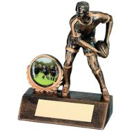 Bronze/Gold Resin Mini Male Rugby Trophy 5.25in