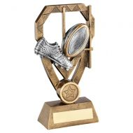Bronze Pewter Gold Rugby Boot and Ball with Posts On Diamond Trophy Award 7in : New 2020