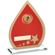 Red/Gold Printed Glass Teardrop Rugby Trophy - 8in