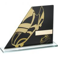 Black/Gold Printed Glass Plaque Rugby Boot/Ball Trophy - 5.75in