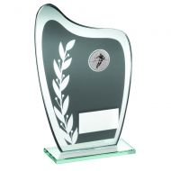 Grey/Silver Glass Plaque Rugby Trophy 8in