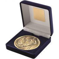 Blue Velvet Box Medal Rugby Trophy Antique Gold 4in