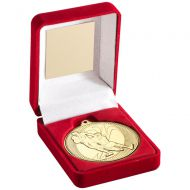Red Velvet Box Medal Rugby Trophy Gold 3.5in