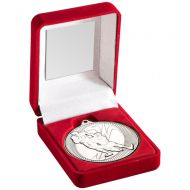 Red Velvet Box Medal Rugby Trophy Silver 3.5in