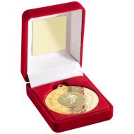 Red Velvet Box And 50mm Medal With Rugby Man Of the Match Trophy - Gold - 3.5in