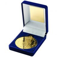 Blue Velvet Box Medal Rugby Trophy Gold 3.5in