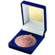 Blue Velvet Box Medal Rugby Trophy Bronze 3.5in