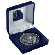 Blue Velvet Box And 60mm Medal Rugby Trophy Antique Silver 4in : New 2019