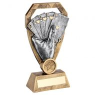 Bronze Pewter Gold Cards In Hand On Diamond Trophy Award 8in : New 2020