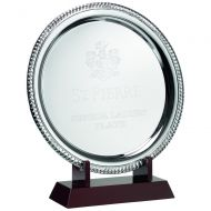 Silver Plated Rope Salver On Wooden St 11.5in