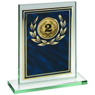 Jade Glass Plaque Blue/Gold Aluminium Front Trophy 7in