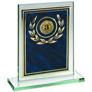 Jade Glass Plaque Blue/Gold Aluminium Front Trophy 6in