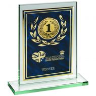 Jade Glass Plaque Blue/Gold Aluminium Front Trophy 8in