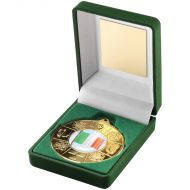 Green Velvet Box Medal Four Provinces Trophy Gold 3.5in