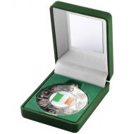 Green Velvet Box Medal Four Provinces Trophy Silver 3.5in