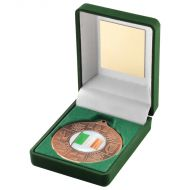Green Velvet Box Medal Four Provinces Trophy Bronze 3.5in