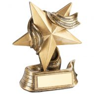 Bronze/Gold Star And Ribbon Award Trophy Award - 5.5in : New 2018