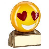 Bronze Yellow Red Heart Eyes Emoji Figure Trophy 2.75in : New 2019