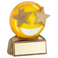 Bronze Yellow Star Eyes Emoji Figure Trophy 2.75in : New 2019