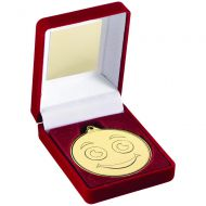 Red Velvet Box And Gold 50mm Medal Smiley Face Trophy 3.5in : New 2019