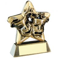 Bronze/Gold Drama Masks Mini Star Trophy 3.75in