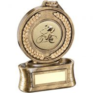 Bronze/Gold Medal Ribbon Cycling Trophy - 5in