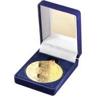 Blue Velvet Box Medal Cycling Trophy Gold 3.5in