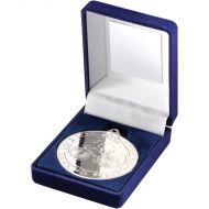 Blue Velvet Box Medal Cycling Trophy Silver 3.5in
