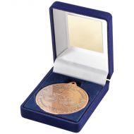 Blue Velvet Box Medal Cycling Trophy Bronze 3.5in