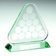 Jade Glass Pool/Snooker Balls In Triangle Trophy 6.75in