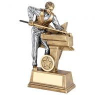 Bronze/Pewter Male Pool/Snooker Figure With Star Backing Trophy Award - 9in : New 2018
