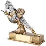 Bronze/Pewter Pool/Snooker Bust Figure Trophy Award - 6.75in : New 2018