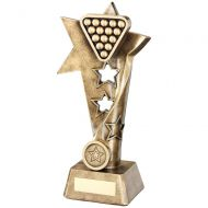 Bronze/Gold Pool/Snooker Twisted Star Column Trophy - 9in