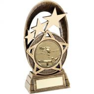 Bronze/Gold Generic Tri-Star Oval Pool/Snooker Trophy - 5.5in