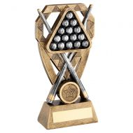 Bronze Pewter Gold Pool Snooker Balls with Cues On Diamond Trophy Award 7in : New 2020