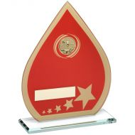 Red/Gold Printed Glass Teardrop Pool/Snooker Trophy - 8in