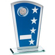 Blue/Silver Printed Glass Shield Pool/Snooker Trophy - 8in