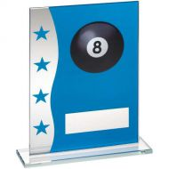 Blue/Silver Printed Glass Plaque With Pool Ball Image Trophy Award - 8in : New 2018