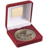 Red Velvet Box Medal Pool/Snooker Trophy Antique Gold 4in