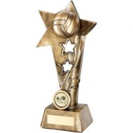 Bronze/Gold Volleyball Twisted Star Column Trophy - 9in