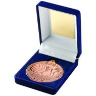 Blue Velvet Box And 50mm Medal Volleyball Trophy Bronze 3.5in : New 2019