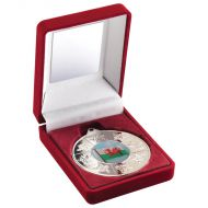 Red Velvet Box Medal Wales Trophy Silver 3.5in