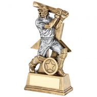 Bronze/Pewter Cricket Batsman Figure With Star Backing Trophy Award - 7in : New 2018