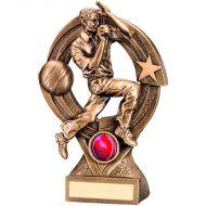 Cricket Bowler Quartz Figure Trophy Bronze Gold 8.25in