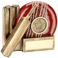 Bronze/Red Cricket Ball, Bat And Stumps Chunky Flatback Trophy Award - 4.25in : New 2018