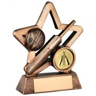 Bronze/Gold Resin Cricket Mini Star Trophy 3.75in