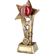 Bronze/Gold/Red Cricket Twisted Star Column Trophy - 7.5in