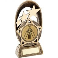 Bronze/Gold Generic Tri-Star Oval Cricket Trophy - 5.5in